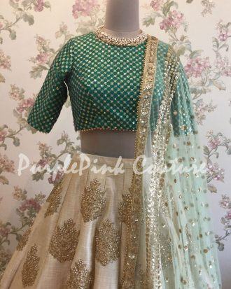 Beige Lehenga Dark Green Choli Raw Silk Net Beige Dupatta