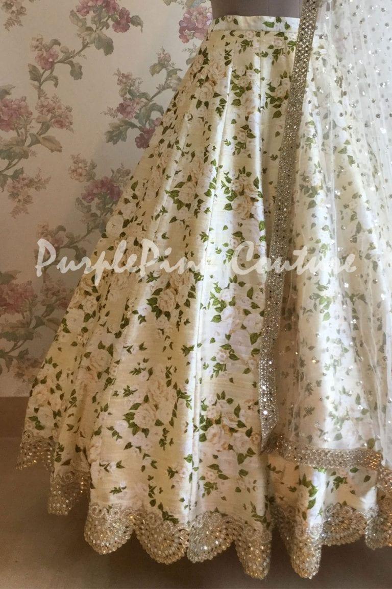 Off White Floral Raw Silk Lehenga Heavy Sequins Choli