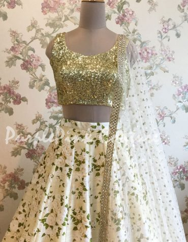 Off White Floral Raw Silk Lehenga Heavy Sequins Choli