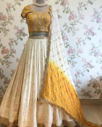 Ivory and Mustard Yellow Lucknowi Lehenga Choli