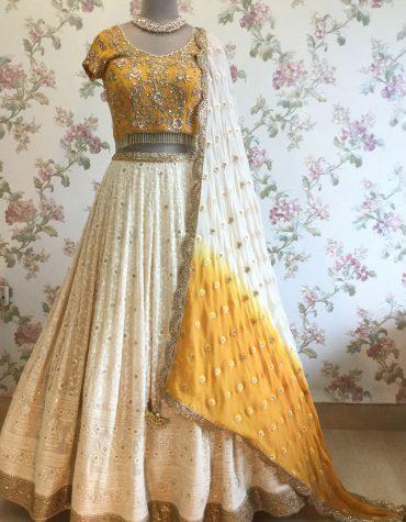 Ivory and Mustard Yellow Lucknowi Lehenga Choli