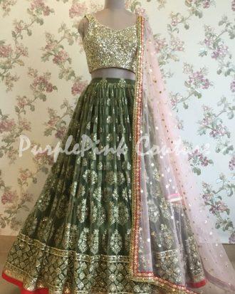 Mehandi Green Lucknowi Lehenga Gold Choli Pink Dupatta