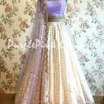Off White Chanderi Silk Lehenga with Lavender Choli and Dupatta
