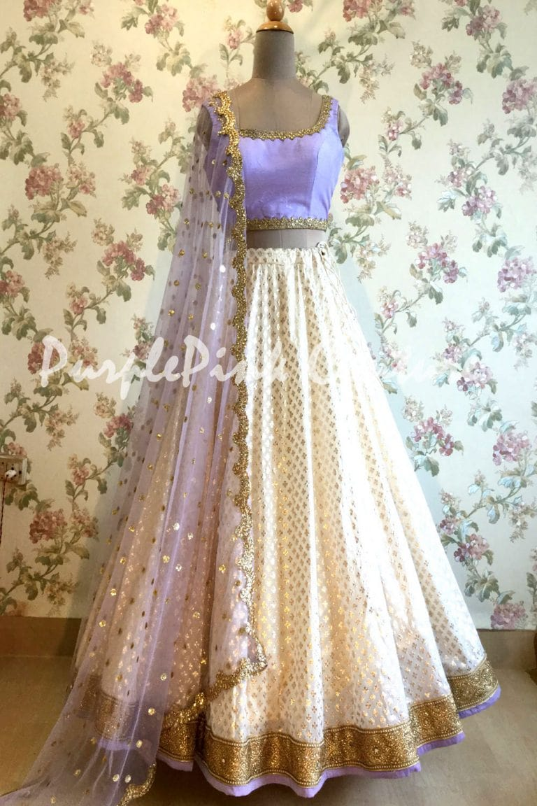 Off White Chanderi Silk Lehenga Lavender Choli