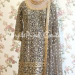 Grey Embroidered Suit with Net Dupatta