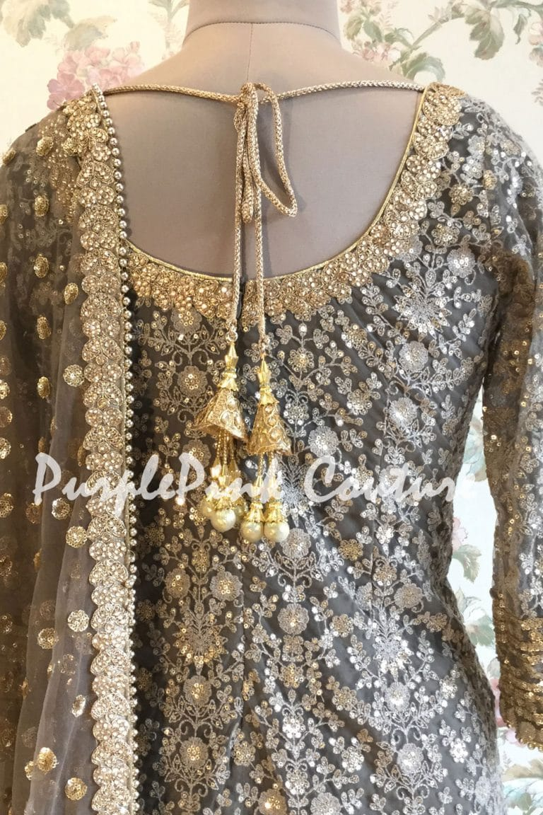 Grey Embroidered Suit Net Dupatta