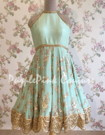 Ice Teal Blue Short Anarkali