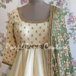 Off White Silk Short Anarkali with Green Dupatta