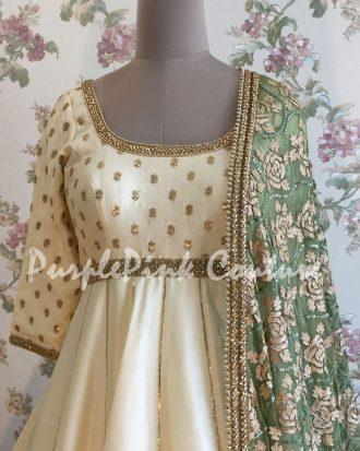 Off White Silk Short Anarkali Green Dupatta