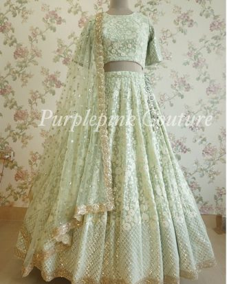 Pistachio Thread Sequins Lehenga Choli