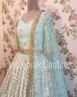 Aqua Blue Thread Work Lehenga Choli