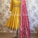 Sunny Yellow Knee Length Anarkali Fuchsia Pink Dupatta
