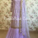Lavender Thread and Sequins Work Sharara
