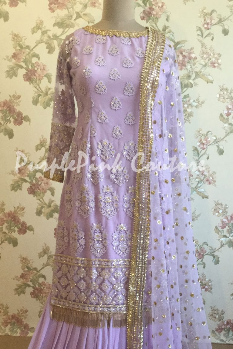 Lavender Thread Sequins Work Sharara
