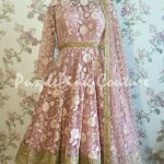 Knee Length Anarkali in Pink with Thread and Sequins Work