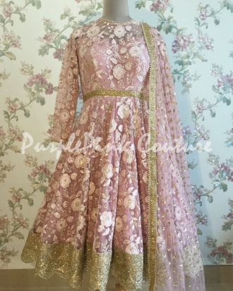 Knee Length Anarkali Pink Thread Sequins Work