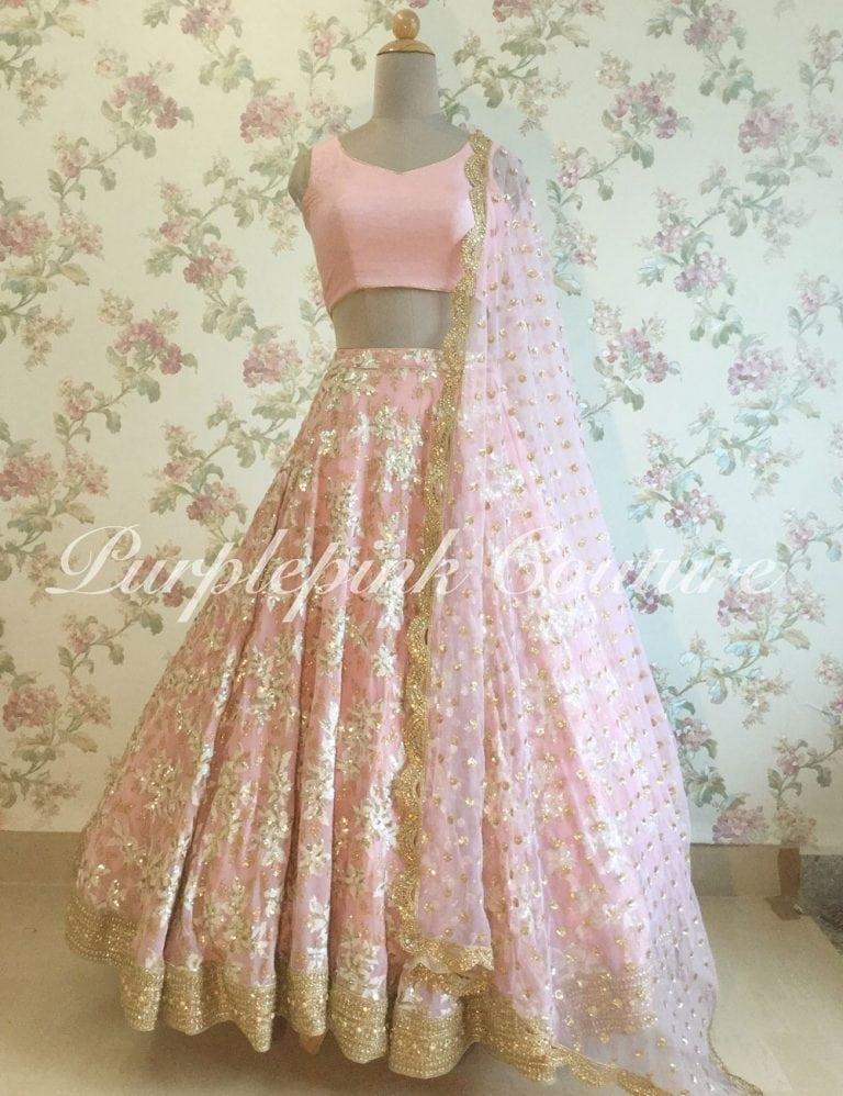 Pink Georgette Lehenga Choli