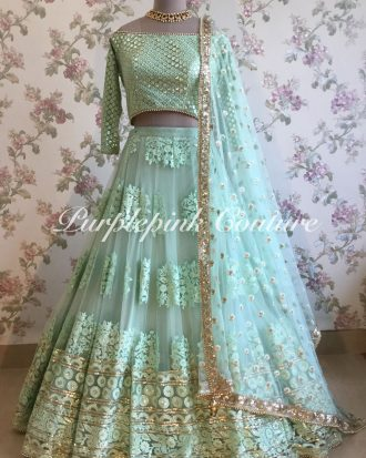 Pale Turquoise Blue Thread Sequins Work Lehenga Choli