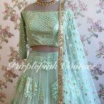 Pale Turquoise Blue Thread Sequins Work Lehenga Choli
