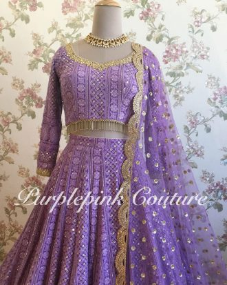Purple Lucknowi Lehenga Choli