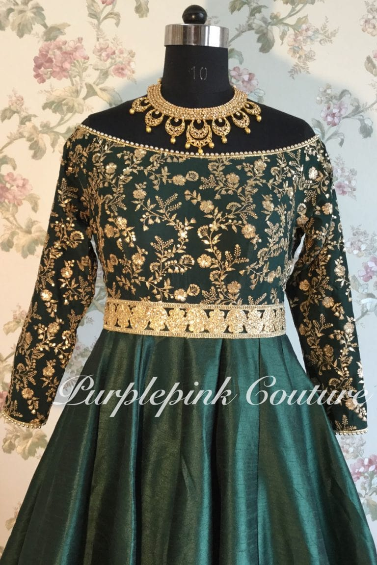 Teal Green Off White Short Anarkali with Off White Sequins Dupatta