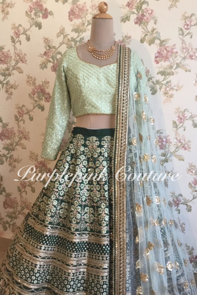 Teal Green Heavy Embroidered Lehenga Mint Green Choli