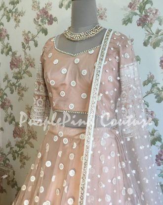 Coco Nude White Thread Embroidered Lehenga Choli