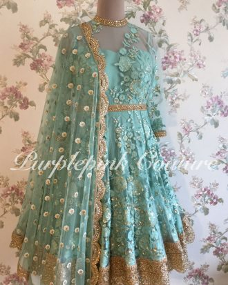Sage Blue Floral Thread Sequins Work Knee Length Anarkali