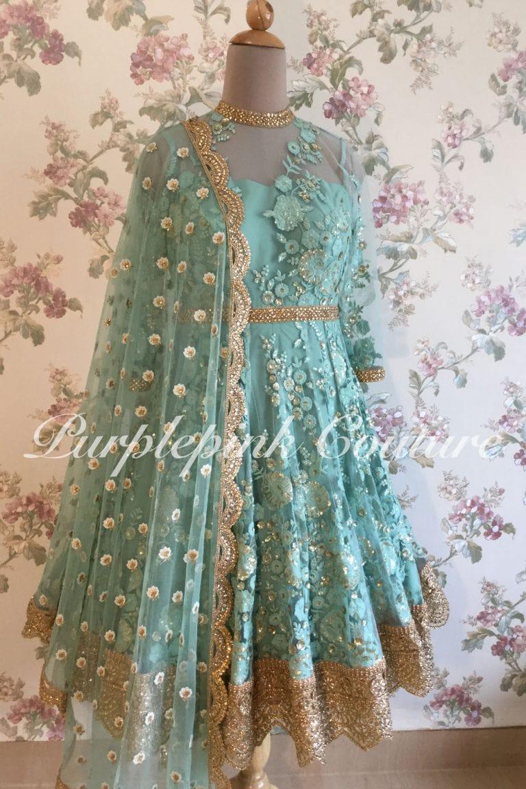 Sage Blue Floral Thread Sequins Work Knee Length Anarkali