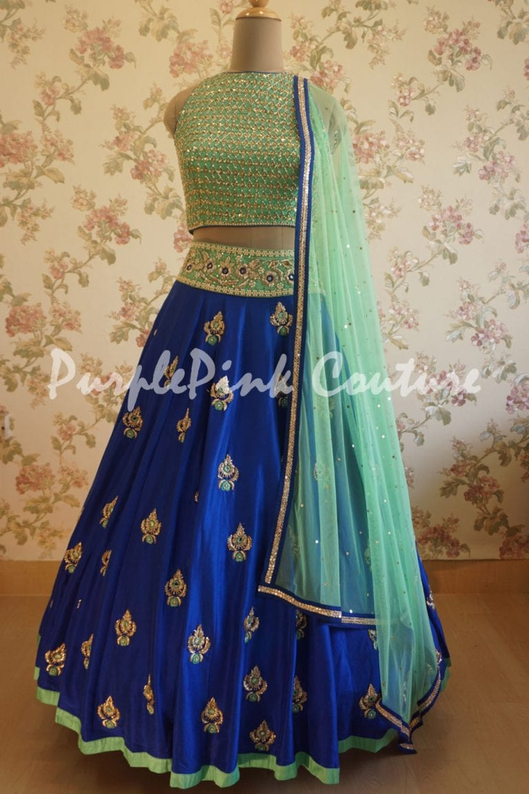 Hand Embroidered Royal Blue Lehenga Aqua Blue Choli
