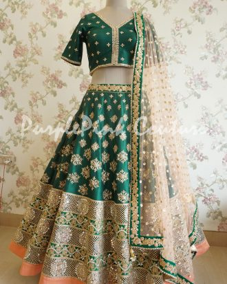 Green Peach Hand Embroidered Heavy Border Lehenga Choli