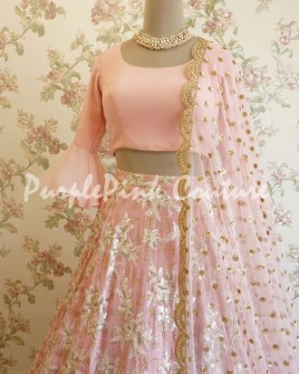 Powered Pink Georgette Lehenga Choli Scallop Border Dupatta
