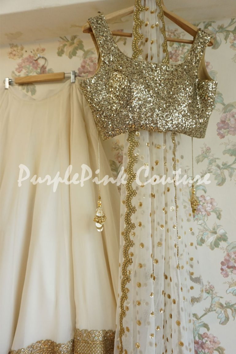 Ivory Georgette Lehenga Gold Sequins Blouse