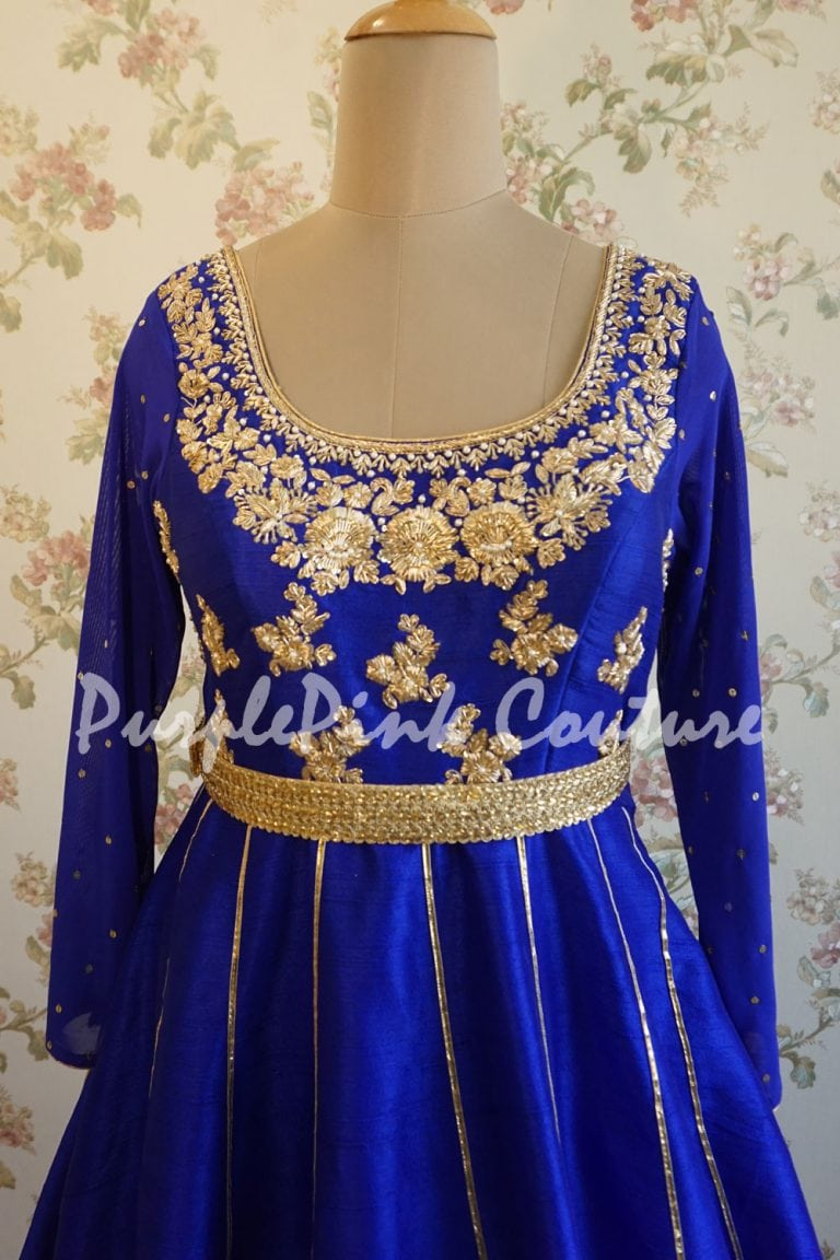 Royal Blue Raw Silk Hand Embroidered Short Anarkali