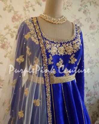 Royal Blue Raw Silk Hand Embroidered Short Anarkali