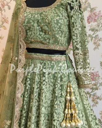 Moss Green Thread Sequins Embroidered Lehenga Choli