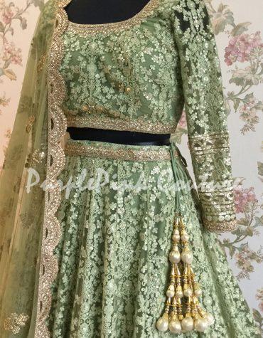 Moss Green Thread Sequins Embroidered Lehenga Choli