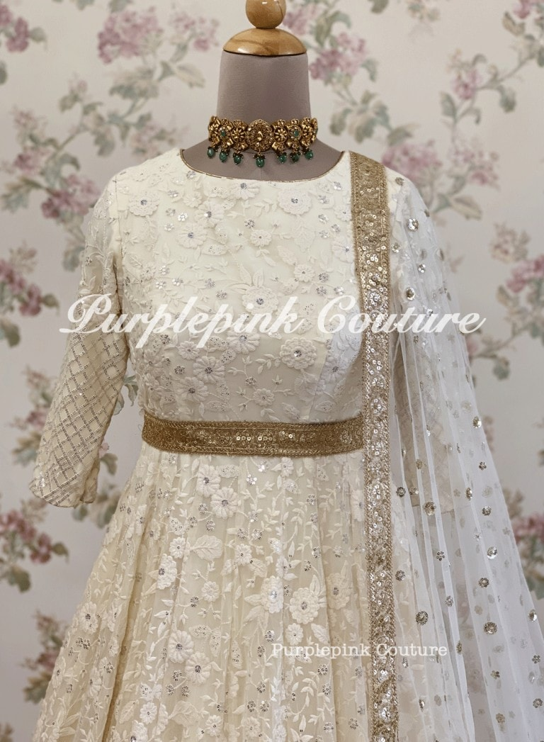 Floor Length Thread Sequins Embroidered Anarkali