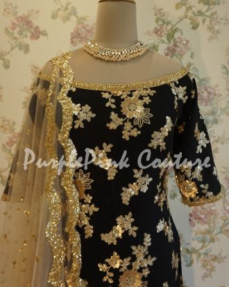 Gold Sequins Black Punjabi Suit