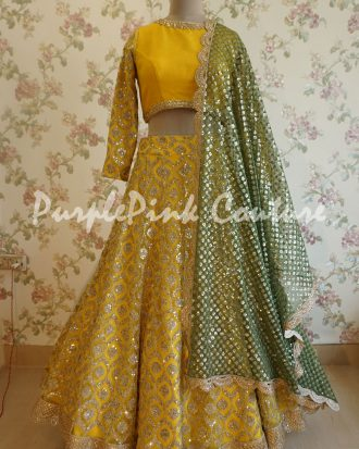 Yellow Heavy Sequins Lehenga Choli Green Dupatta