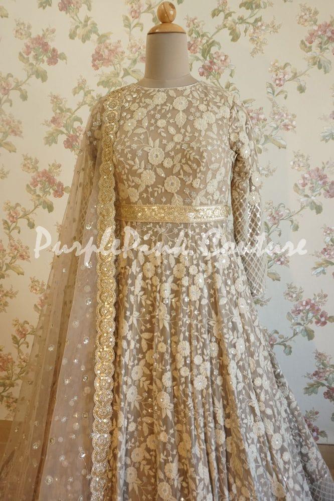 Floor Length Thread Sequins Embroidered Anarkali