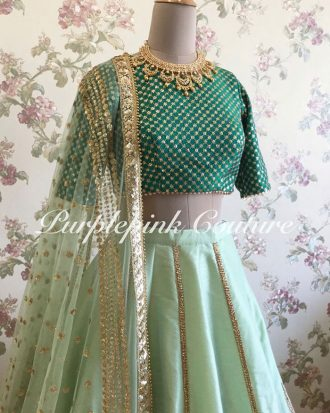 Mint Green Raw Silk Lehenga Teal Green Choli