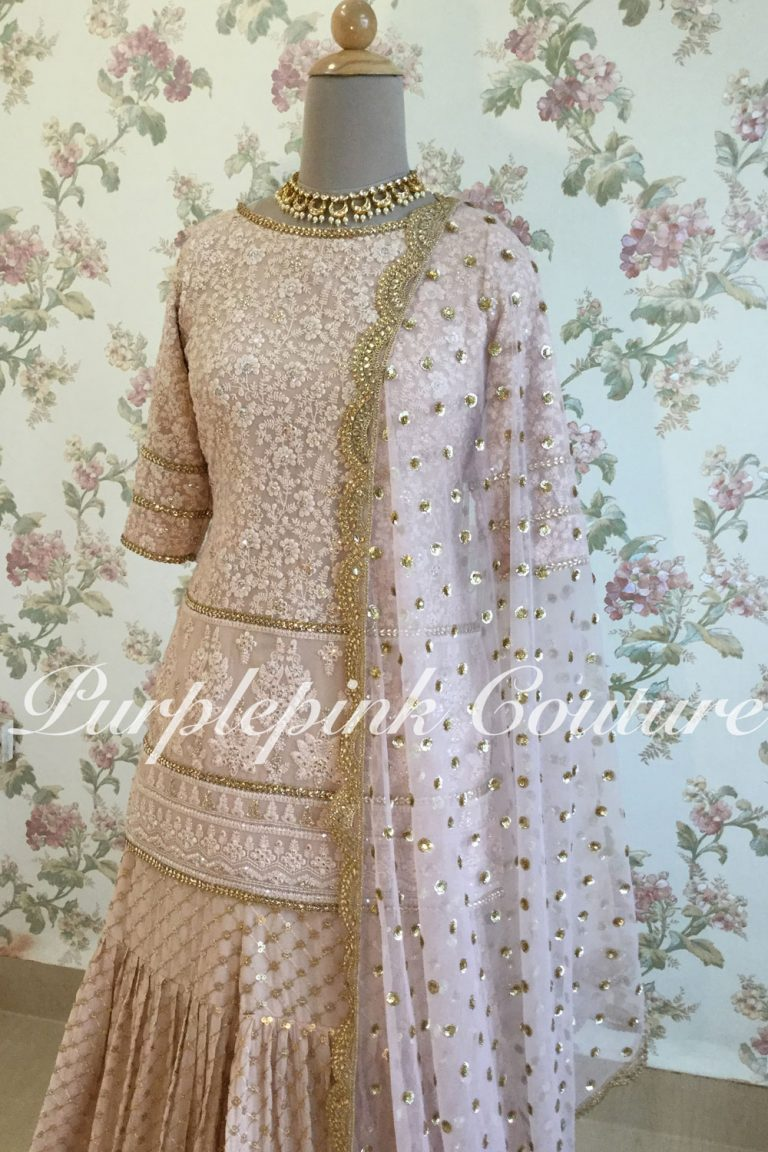 Pinkish Nude Lucknowi Sharara Set