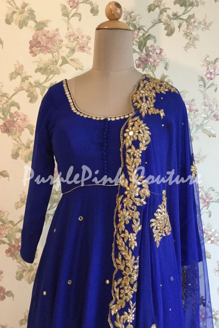 Royal Blue Georgette Short Anarkali