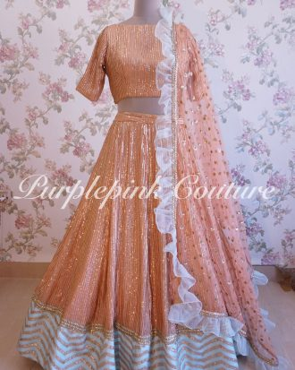 Georgette Base Sequins Work Organza Gota Work Border