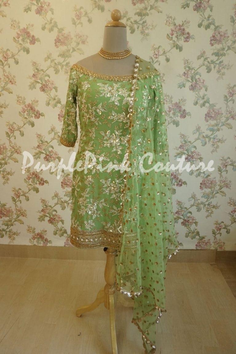 Leaf Green Georgette Base Embroidered Suit