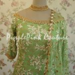 Leaf Green Georgette Base Embroidered Suit