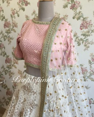 Honeycomb Embroidery Ivory Lehenga Blush Pink Sequins Georgette Choli Dual Shade Dupatta