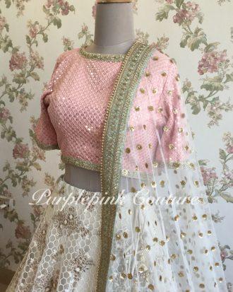 Honeycomb Embroidery Ivory Lehenga Blush Pink Sequins Georgette Choli Dual Shade Dupatta