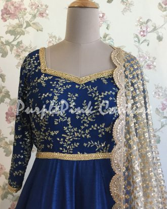 Navy Blue Short Anarkali